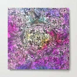 Floral mandala handdrawn pink nebula watercolor Metal Print