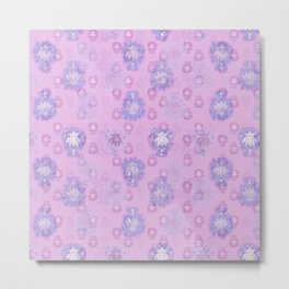 Lotus flower - pink and light blue woodblock print style pattern Metal Print