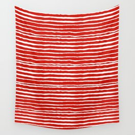 Minimal Christmas red and white holiday pattern stripes candy cane stripe pattern Wall Tapestry
