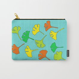 Gingko Leaves on Teal Carry-All Pouch