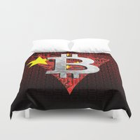 china Duvet Covers featuring bitcoin China by seb mcnulty