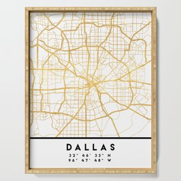DALLAS TEXAS CITY STREET MAP ART Serving Tray