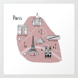 Mapping Paris - Pink Art Print