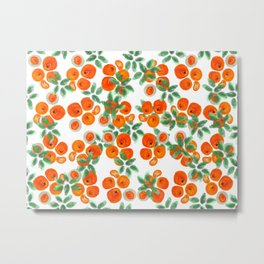 Fresh Orange Juice Pattern Metal Print