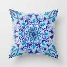 Simpe Blue Mandala Throw Pillow