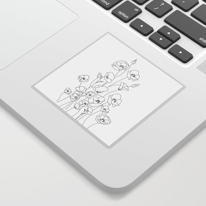 Poppy Flowers Line Art Sticker