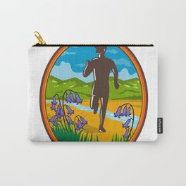 Marathon Runner and Bluebells Oval Retro Carry-All Pouch