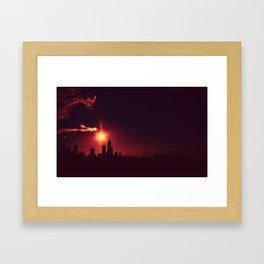 Skyline silhouette of Chicago Framed Art Print