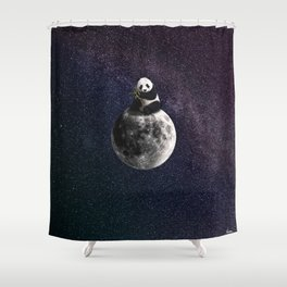 panda on the moon. Shower Curtain