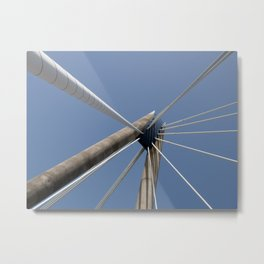 concrete and cables - modern suspension bridge - southport Metal Print