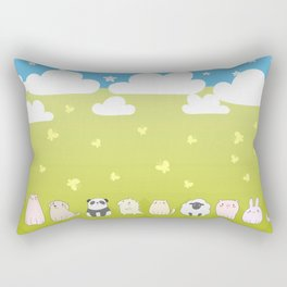 Cute Animals Art, Colorful Art with Clouds, Stars, Grass And Blue Sky Rectangular Pillow