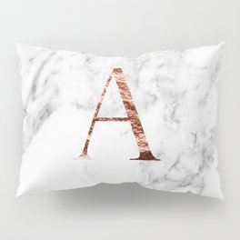 Monogram rose gold marble A Pillow Sham