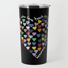 Hearts Heart Teacher Black Travel Mug