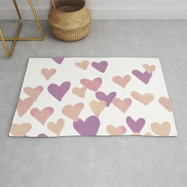 Valentine's Day Watercolor Hearts - pastel pink Rug