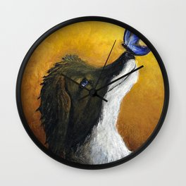 Dog and Butterfly Wall Clock