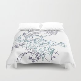 Flowers from an old Paris dish Duvet Cover