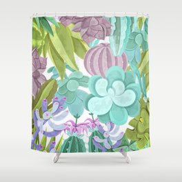 Tropical Cactus Pattern Shower Curtain