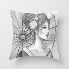 Elegant Oriental Japanese Geisha by Ashley Rose Standish Throw Pillow