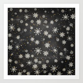 Boho Black Snowflakes Art Print