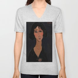 """Amedeo Modigliani """"Young Girl Wearing a Rose"""" Unisex V-Neck"""