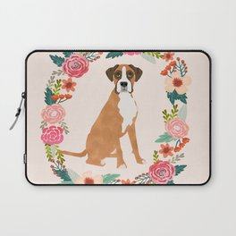 Boxer floral wreath flowers dog breed gifts Laptop Sleeve