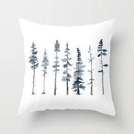 Navy Trees Silhouette Throw Pillow