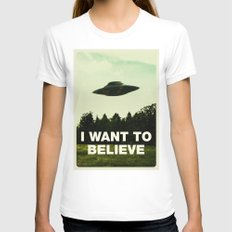 UFO, I Want To Believe MEDIUM Womens Fitted Tee White