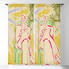READING AMONG PALM TREES Blackout Curtain