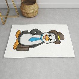 Penguin as Entrepreneur with Briefcase Rug