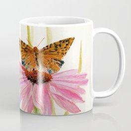 Pink Coneflower Butterfly Watercolor Coffee Mug