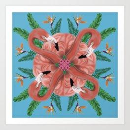 Flamingo Tropical Mandala Art Print
