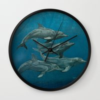 dolphins Wall Clocks featuring Dolphins by Beckyliv