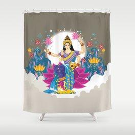 Goddess Lakshmi Cool Colors Vector Shower Curtain