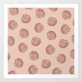 Peach Seashell Pattern Art Print