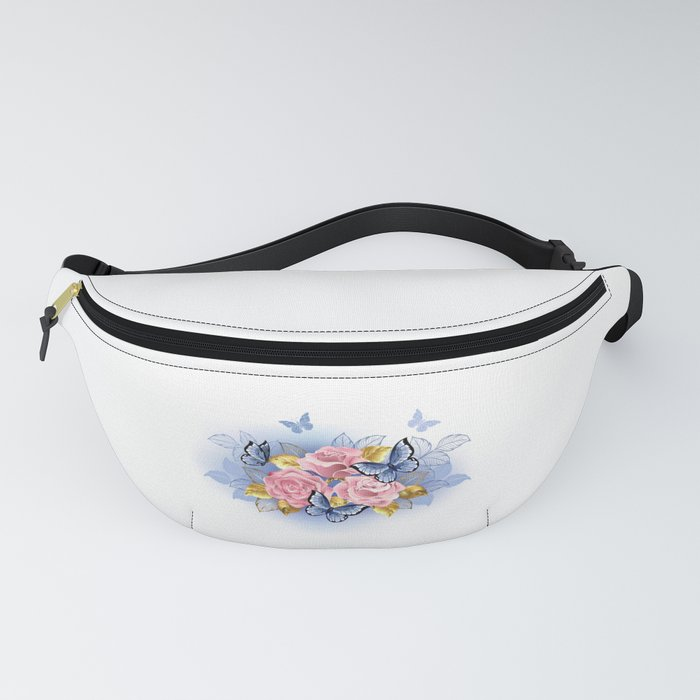 Three Pink Roses with Butterflies Fanny Pack