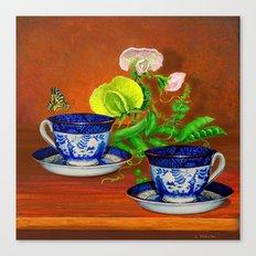 Teacups with Snap Peas Canvas Print