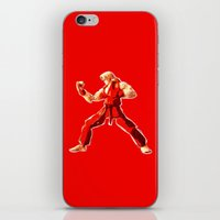 street fighter iPhone & iPod Skins featuring Street Fighter II - Ken by Carlo Spaziani