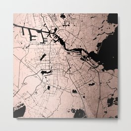 Amsterdam Rosegold on Black Street Map Metal Print