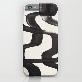 Mid Century Modern Minimalist Abstract Art Brush Strokes Black & White Ink Art Ripple Lines iPhone Case
