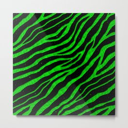 Ripped SpaceTime Stripes - Green Metal Print
