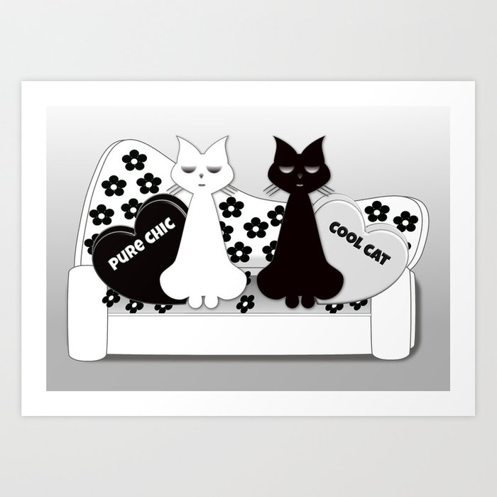 Black and White cats on the Black and White Sofa Art Print