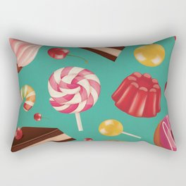 Kitschy and Colorful Candy Pattern on Aqua Rectangular Pillow