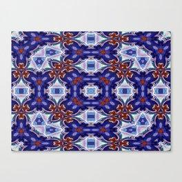 A Little Bit Country Blue Floral Pattern Canvas Print