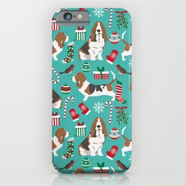 Basset Hound christmas pattern print pet friendly dog breed art for holiday decor iPhone Case