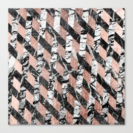 Modern Black and White Marble Rose Gold Crisscross Canvas Print