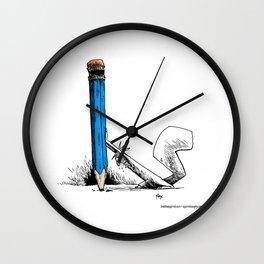 pencil pushing Wall Clock