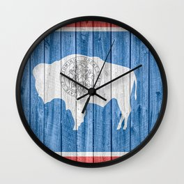 Wyoming Flag Barn Wall Gifts Wall Clock