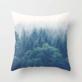 The Journey Is My Home - Misty Foggy forests Throw Pillow