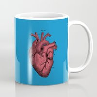 anatomical heart Mugs featuring Vintage Anatomical Heart Illustration by Digital Crafts