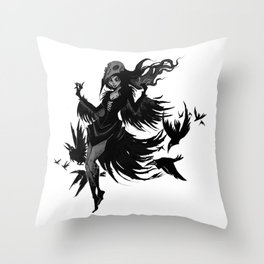 Inktober Ravens Throw Pillow